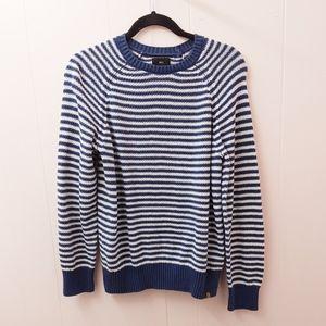 obey | blue white stripe striped knit sweater top